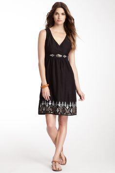 DeVine Embroidered and Sequin Surplice Dress