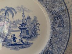 """T.J. Mayer Blue and White Transferware 10 1/2 inch Plate."""" NonPareil"""" Pattern. Made in England. by HomecomingDiningRoom on Etsy"""