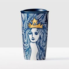 Siren with Flowing Hair Double Wall Traveler. The gold-crowned Siren appears in a wood-etched style with enchanting flowing hair in a beautiful Pacific blue.