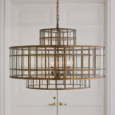"""Studio A by Global Views Alexandria Pendants has been painstakingly hand-beveled, enhancing the reflection and refraction of light emanating from the fixture. Solid brass frame.with holds five 60W """"B"""" lamp bulbs. 6' decorative chain included. Clear gold cord. Antique brass canopy. FREE SHIPPING. $4998"""