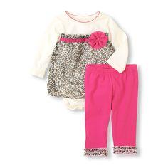 LEOPARD BODYSUIT & LEGGINGS SET - Bodysuit & Leggings. Size 12-18 Months Only. Regular Price $24.95, Sale $14.97
