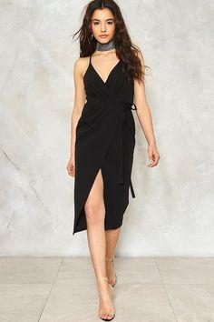 Split Ways Wrap Dress Plunging V Neck Dress d5f82ba3c