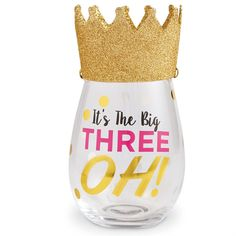 "30th Birthday Stemless Wine Glass - This 2-piece set includes a stemless wine glass with a festive wearable birthday hat. The glass features gold foil embellished ""It's The Big THREE OH!"" message. Celebrate turning 30 in style. From Mud Pie. Size: glass 16 oz 
