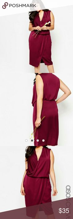 Asos Curve cowl neck midi dress Lightweight woven fabricLight sheen finishCowl necklineDraped wrap frontRegular fit - true to sizeMachine wash100% Polyester ASOS Curve Dresses
