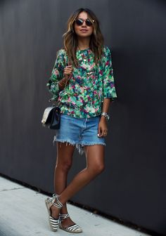 Denim cutoffs are the perfect match for summery lace-up espadrilles.