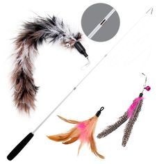 Wisspet Teaser Cat Toys Bird Catcher Interactive Wand Fishing Pole with three Feather Refill Replacement Pack