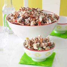 Easy White Chocolate Party Mix Recipe -I get rave reviews every time I prepare this crispy combo of cereal, popcorn, pretzels, nuts and candies. Coated in white chocolate, this mix is great for meetings, parties and gift giving. —Rose Wentzel, St. Louis, Missouri