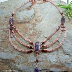 The Viking Queen Necklace - Amethyst, Garnet and copper Viking Knit Jewelry, Knitted Jewelry, Viking Queen, Wire Jewelry, Wire Earrings, Handmade Jewelry, Wire Bracelets, Jewellery, Pendant Jewelry