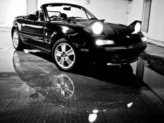 Mazda MX-5 Miata NA: Beautiful black & white shot of my future car