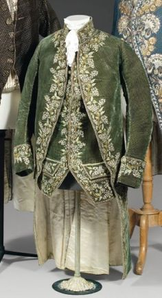 Court coat and waistcoat, habit à la française,  Louis XVI. Cut green silk velvet exquisitely embroidered with floral motifs in chenille and coloured silks threads.