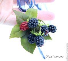 """Купить Комплект украшений """"Ежевичка"""" - чёрный, ежевика, кулон, подвеска, серьги с ягодами, брошь с ягодами"""