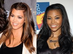Funny. The fact that they're of different ethnicities clearly doesn't matter because Kourtney Kardashian and Amerie look like mirror images.