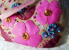 BORSA donna RICAMATA A MANO rosa beige BOHO CHIC handbag PERLE sac Handtasche