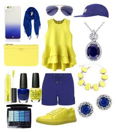 """""""Yellow and Blue"""" by shakeitoff924 on Polyvore featuring George, Kenneth Cole, Alexander McQueen, Topshop, Effy Jewelry, POMIKAKI, Kate Spade, Nordstrom, MAC Cosmetics and OPI"""