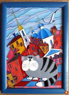 """Витражная картина """"Питерский кот"""" - витражи, картины с изображением животных. МегаГрад - главный ресурс мастеров и художников"""