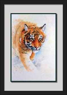 Award-winning artist LBissell watercolour Amur Tiger Cub big cats wildlife art | eBay