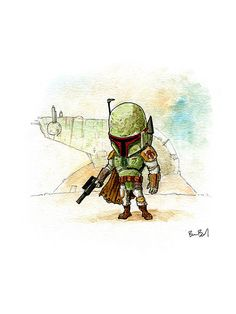 Boba Fett Bounty Hunter Star Wars Watercolor by BenByrdArtwork