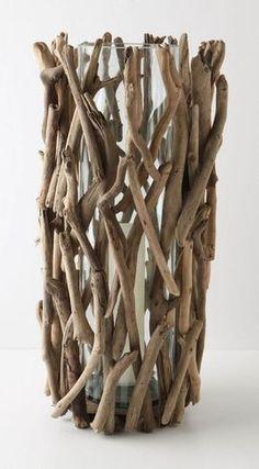 wood added to cylinder vase