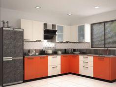 Rivoli L-shaped Modular Kitchen Orange & Mysore Ivory L Shape Kitchen Layout, Kitchen Pantry Design, Interior Design Kitchen, L Shaped Modular Kitchen, L Shaped Kitchen Designs, Kitchen Furniture, Furniture Design, Mysore, Small Kitchens