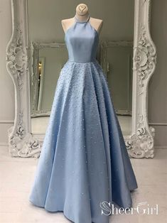 Sky Blue Simple Satin Long Prom Dresses Pearl Skirt Prom Dress with Po – SheerGirl Elegant Prom Dresses, Simple Dresses, Pretty Dresses, Beautiful Dresses, Evening Dresses, Casual Dresses, Formal Dresses, Sexy Dresses, Long Dresses