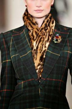 Black watch plaid & animal print scarf