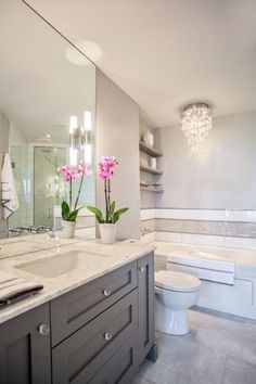 50 Beautiful Bathroom Idas: Gray Vanity