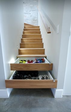 Using voids in your stair treads is a great place to store things by the front door.