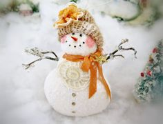 Your place to buy and sell all things handmade Gold Christmas, Winter Christmas, Handmade Christmas, Christmas Bulbs, Snow Men, Pink Cheeks, Make Happy, Arm Knitting, Snowman Ornaments