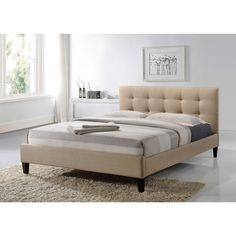 Altos Home Hermosa Fabric Queen-Size Tufted Upholstered Platform Contemporary Bed in Beige-ALT-Q6502-BGE - The Home Depot