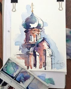 The detail of cathedral in Tula city Sketch by Artist Kristina Gavrilova @xtina_gavrilova_art in Instagram #russia #kremlin #micron #art #painting #watercolor #watercolour #sketch #paint #drawing #sketching #sketchbook #travelbook #archisketcher #sketchaday #sketchwalker #sketchcollector #traveldiary #topcreator #usk #urbansketch #urbansketchers #скетчбук #скетч #скетчинг #pleinair #aquarelle #watercolorsketch #usk #architecture #painting #illustration