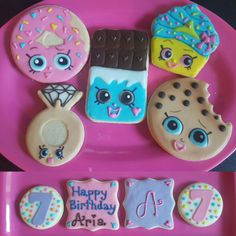 Shopkins sugar cookies for Miss Aria's birthday.
