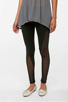 Leggings With Mesh Side Panels - Trendy Clothes