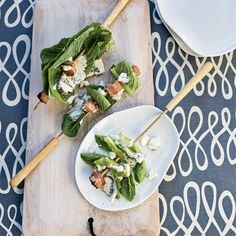 Bacon-and-Romaine Skewers with Blue Cheese Dressing. © Jody Horton Think I will throw the skewers onto to grill for a second before serving. Romaine is scrumptious with that smokey goodness added! Blue Cheese Recipes, Bacon Recipes, Wine Recipes, Appetizer Recipes, Bacon Food, Bacon Appetizers, Bacon Salad, Kebab Recipes, Grill Recipes