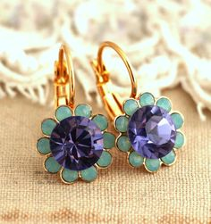 Mint Green violet purple Flower Swarovski Gold lever by iloniti