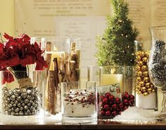 fill glass containers with christmas stuff - for mantle