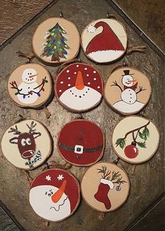 Various painted wood slice ornaments that include snowmen, stockings, deer and trees - 25 Rustic Wood Slice Christmas Decor Ideas Just in time to decorate your Christmas tree! Set of 10 ornaments made wood slices. Gonna rock rustic decor this Christmas? Wood Ornaments, Diy Christmas Ornaments, How To Make Ornaments, Holiday Crafts, Wooden Christmas Tree Decorations, Snowman Ornaments, Christmas Decorating Ideas, Decorating Ornaments, Christmas Coasters