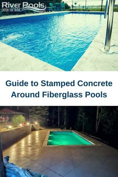 See an up-close example of stamped concrete around fiberglass swimming pools and learn about your options #fiberglasspools #ingroundpools #poolpatio #home