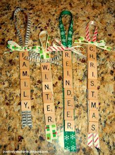 Scrabble Tile Ornaments - love these! Scrabble Letter Crafts, Scrabble Tile Crafts, Scrabble Art, Scrabble Ornaments Diy, Scrabble Frame, Diy Ornaments, Christmas Crafts For Gifts, Christmas Ornament Crafts, Handmade Christmas