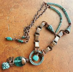 Greek Islands Laurel Wreath Patina Pendant in Azure Teal and Turquoise with Antiqued Copper Rustic Mediterranean