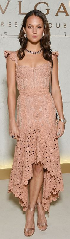 Who made Alicia Vikander's satin sandals, jewelry, and pink lace dress? | OutfitID