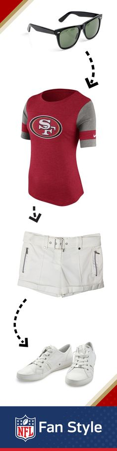 White shorts are a summer staple that are easy to dress up or down! For your backyard barbecue, pair them with your San Francisco 49ers tee and white sneakers. If you want to dress up the look, swap out your sneakers for a pair of wedges.