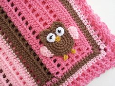 Crochet Owl Baby Blanket in Shades of Pink  by PoochieBaby on Etsy