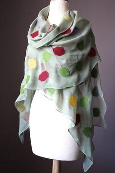 Nuno felted scarf  silk chiffon  merino wool  by VitalTemptation, $119.00