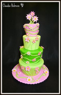 Pink & Green Flowers - Maybe a birthday cake for her sometime???  Cute!