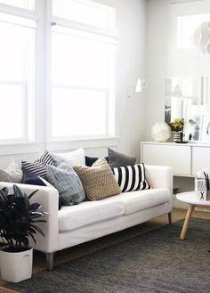 pillows: white + stripes