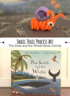 Simple and cute snail craft for toddlers and preschoolers to go along with the book The Snail and the Whale by Julia Donaldson. Using pipe cleaners and recycled squueze/squuezy pouch tops, kids can make this finger puppet to go along with the book and use it to make a trail of silvery slime like the snail in the book. Fun activity.