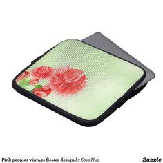 Pink peonies vintage flower design laptop computer sleeves