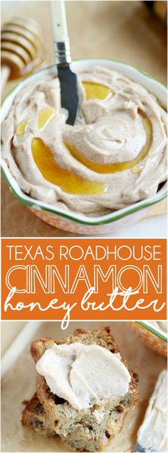 Creamy, sweet, unbelievably honey butter with a heavy touch of cinnamon. Just like the stuff you'll find at Texas Roadhouse!