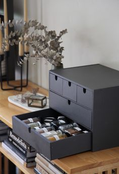 Ikea Hack: Repurposing the Moppe Storage Chest as a Spice Cabinet We like nothing more than a good Ikea hack. A Remodelista editor explains how she repurposed a desktop storage chest as a pretty spice cabinet. Kitchen Storage Hacks, Ikea Storage, Craft Room Storage, Storage Chest, Spice Storage, Storage Trunk, Cabinet Storage, Ikea Makeup Storage, Ikea Furniture Hacks