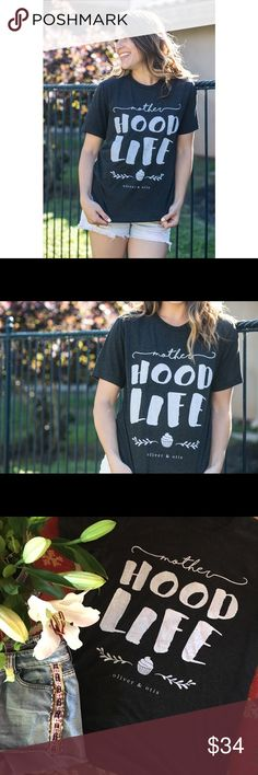 motherHOOD LIFE Mothers!!!! This one is for you! Crew neck in a unisex fit, so definitely true to size. Super soft! Color is char-black  Tops Tees - Short Sleeve
